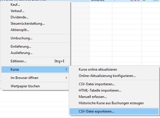 Kurse als CSV Export